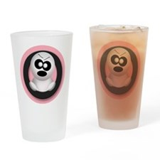 Cute Angry Ghost Pink Drinking Glass