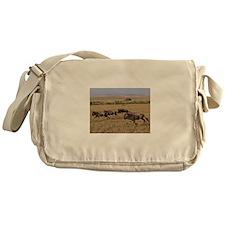 wildebeest running kenya collection Messenger Bag