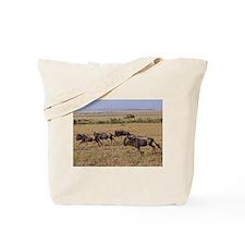 wildebeest running kenya collection Tote Bag