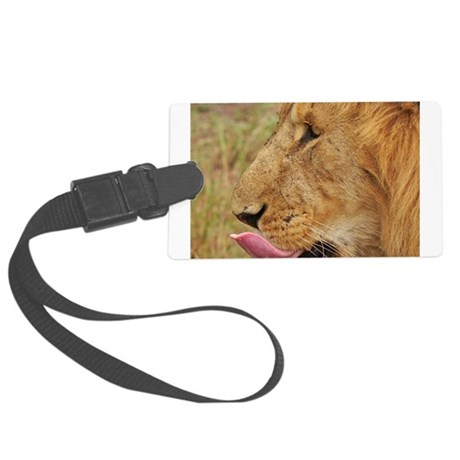 lion closeup kenya collection Large Luggage Tag