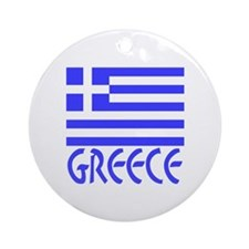 Greece Flag Name Smaller Image Ornament (Round)