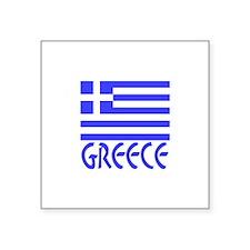 "Greece Flag Name Smaller Image Square Sticker 3"" x"