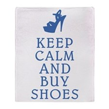 KEEP CALM SHOES BLUE.png Throw Blanket