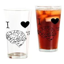 I <3 Brains Drinking Glass
