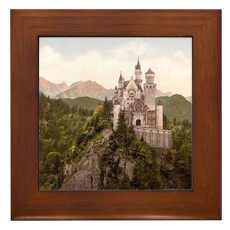 Vintage Neuschwanstein Castle Framed Tile