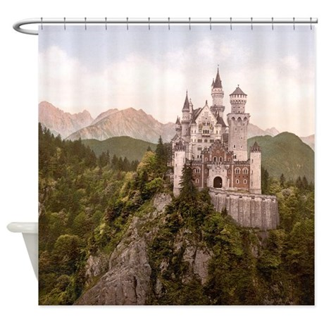 Vintage Neuschwanstein Castle Shower Curtain