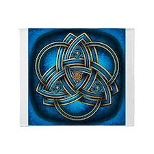 Blue Celtic Triquetra Throw Blanket