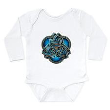 Blue Celtic Triquetra Long Sleeve Infant Bodysuit