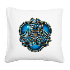 Blue Celtic Triquetra Square Canvas Pillow