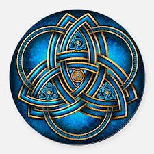 Blue Celtic Triquetra Round Car Magnet