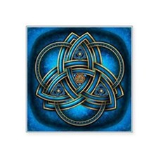 "Blue Celtic Triquetra Square Sticker 3"" x 3"""