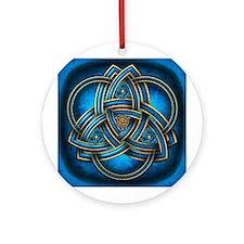 Blue Celtic Triquetra Ornament (Round)