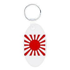 Rising Sun Flag Aluminum Oval Keychain