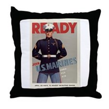 READY JOIN U.S. MARINES Throw Pillow