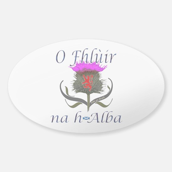 Flower of Scotland Gaelic Thistle Sticker (Oval)
