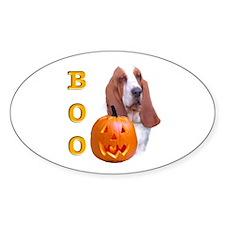 Halloween Basset Boo Oval Decal