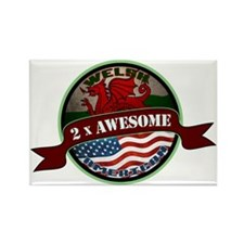 Welsh American 2x Awesome Rectangle Magnet