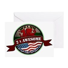 Welsh American 2x Awesome Greeting Card