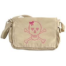 Fuchsia Girl Skull with Bow Messenger Bag