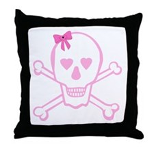 Fuchsia Girl Skull with Bow Throw Pillow