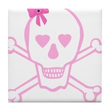 Fuchsia Girl Skull with Bow Tile Coaster