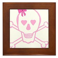 Fuchsia Girl Skull with Bow Framed Tile
