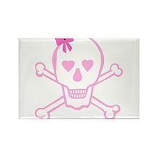 Fuchsia Girl Skull with Bow Rectangle Magnet