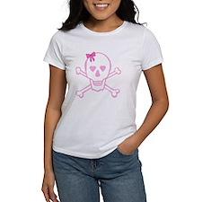Fuchsia Girl Skull with Bow Tee