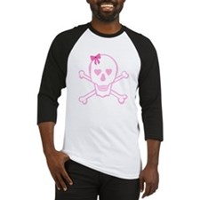 Fuchsia Girl Skull with Bow Baseball Jersey