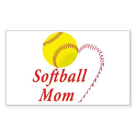 Softball mom Sticker (Rectangle)