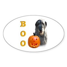 Halloween Irish Wolfhound Boo Oval Decal