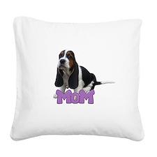 Basset Hound Mom Square Canvas Pillow