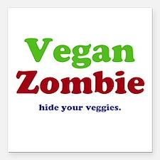 "Vegan Zombie Square Car Magnet 3"" x 3"""