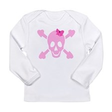 Pink Girl Skull with Hearts and Bow Long Sleeve In