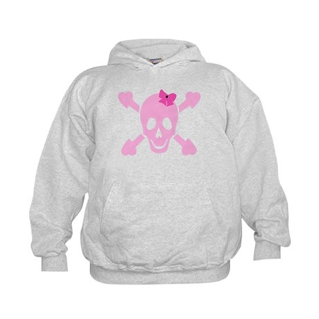 Pink Girl Skull with Hearts and Bow Kids Hoodie