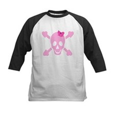 Pink Girl Skull with Hearts and Bow Tee