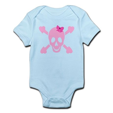 Pink Girl Skull with Hearts and Bow Infant Bodysui