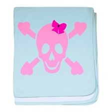 Pink Girl Skull with Hearts and Bow baby blanket