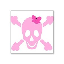 Pink Girl Skull with Hearts and Bow Square Sticker