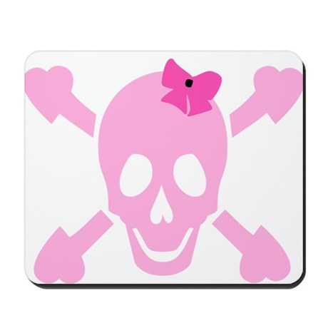 Pink Girl Skull with Hearts and Bow Mousepad