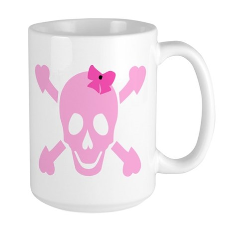 Pink Girl Skull with Hearts and Bow Large Mug