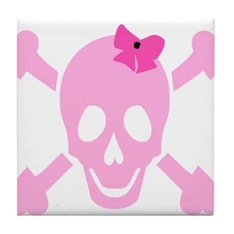 Pink Girl Skull with Hearts and Bow Tile Coaster