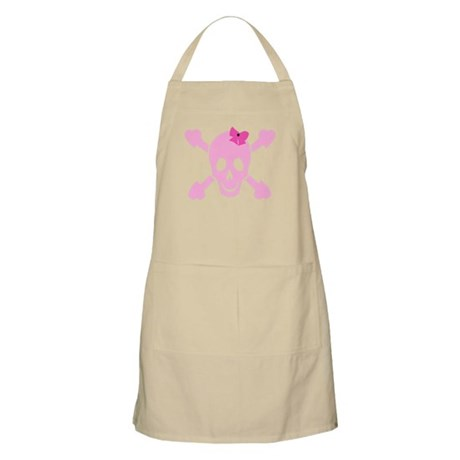 Pink Girl Skull with Hearts and Bow Apron