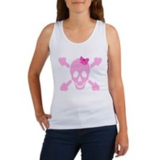 Pink Girl Skull with Hearts and Bow Women's Tank T