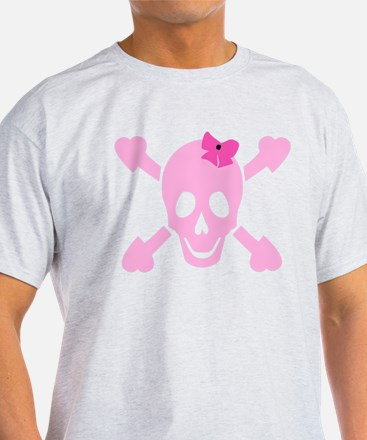 Pink Girl Skull with Hearts and Bow T-Shirt
