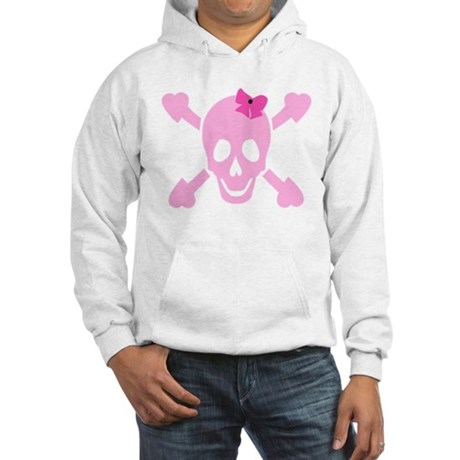 Pink Girl Skull with Hearts and Bow Hooded Sweatsh