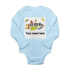 Personalized Space Long Sleeve Baby Bodysuit