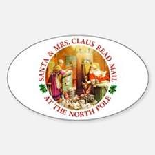 Santa & Mrs Claus Read His Mail Sticker (Oval)