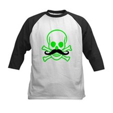 Neon Green Skull and Cross Bones with Mustache Kid