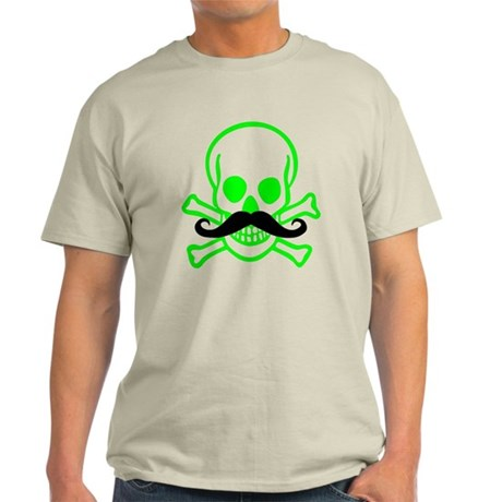Neon Green Skull and Cross Bones with Mustache Lig